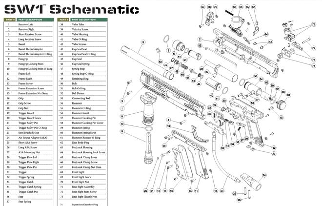 Valken V-TAC SW-1 Part #15 frame retention nut stem